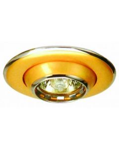 small image product RECESSED SWIVEL EYEBALL LIGHT: GOLD WITH CHROME TRIM