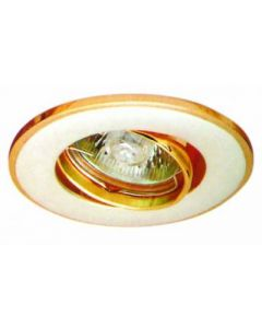 small image product RECESSED SWIVEL LIGHT LARGE: WHITE SATIN WITH GOLD TRIM