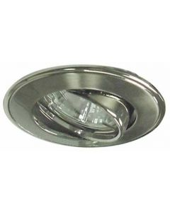 small image product RECESSED SWIVEL LIGHT LARGE:BRUSHED STAINLESS STEEL WITH CHROME TRIM