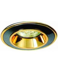 small image product RECESSED SPOTLIGHT FIXED SMALL: BLACK WITH GOLD TRIM