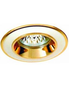 small image product RECESSED SPOTLIGHT FIXED SMALL: WHITE SATIN WITH GOLD TRIM